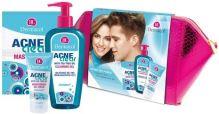 Dermacol AcneClear W čistiaci gél 200 odličovací gel 200 ml + hydratačný gél-krém 50 ml + pleťová maska 2 x 8 g + kozmetická taštička