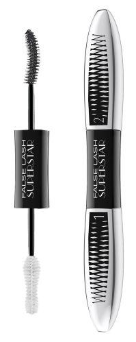 L'Oréal Paris False Lash Superstar riasenka pre efekt dvojnásobného objemu rias Black 2x6,5ml
