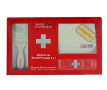 Swiss Haircare Premium kefa na vlasy darčeková sada W - plochý kefa na vlasy Paddle Brush 1 ks + Bag 1 ks + šampón na farbené vlasy 200 ml
